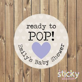 Personalised 'Ready to Pop' Baby Shower Stickers - Lilac Heart Design